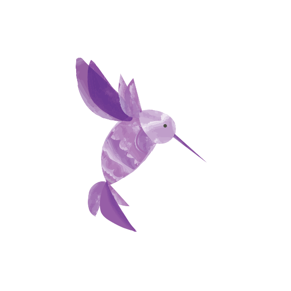 purple watercolor illustration of a hummingbird
