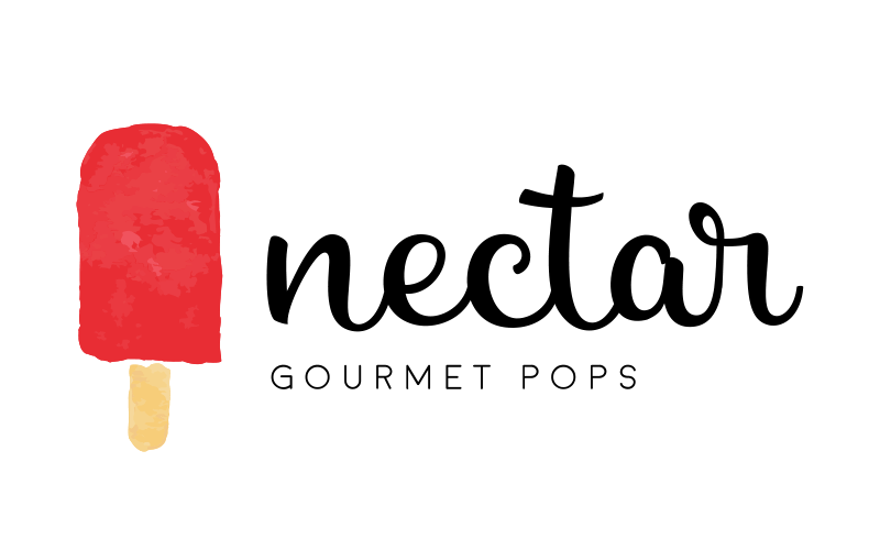 Nectar logo and word mark lockup of a red popsicle and the words Nectar Gourmet Pops