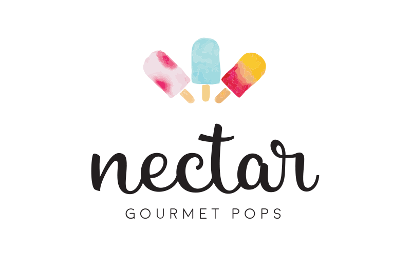 nectar logo and word mark variant with three colorful popsicles and the words Nectar Gourmet Pops