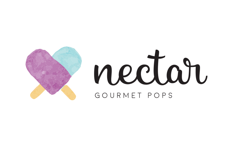 nectar logo and word mark variant with purple and blue popsicles crossed in a heart shape and the words Nectar Gourmet Pops