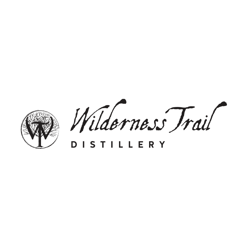 Wilderness Trail Distillery logo and word mark lockup in black on white background