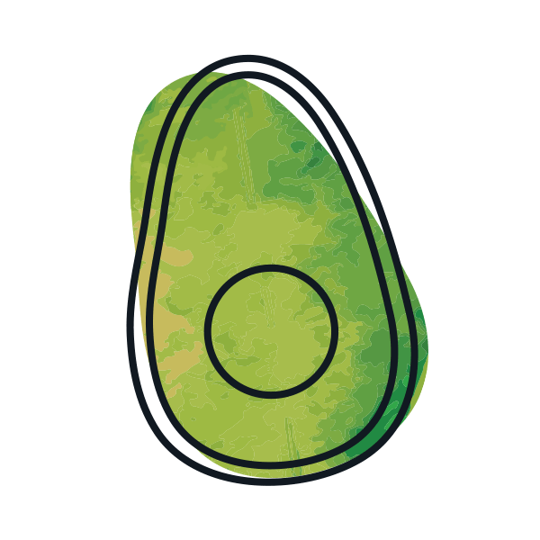 illustrated icon of green avocado half