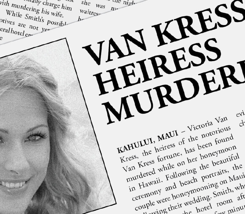newspaper clipping from a Dispatch box with a pretty smiling woman and the headline VAN KRESS HEIRESS MURDER