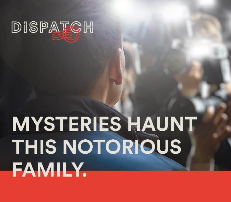 paparazzi flashing in a man's face and the words Mysteries Haunt This Notorious Family