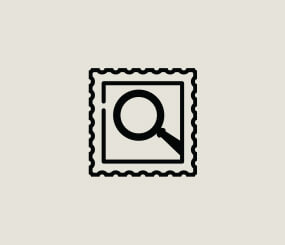 icon of magnifying glass inside a postage stamp border