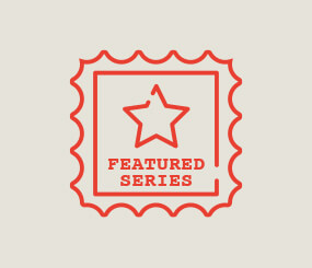 red icon of postage stamp with a star and the words Featured Series