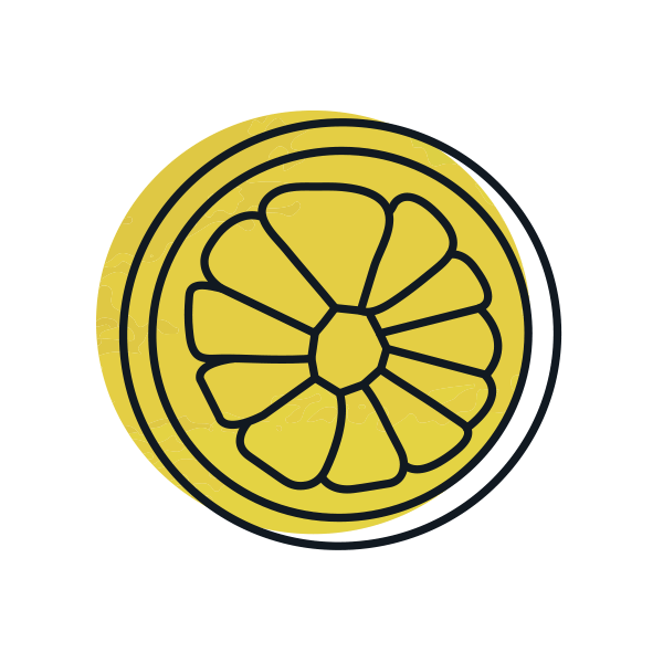 illustrated icon of yellow lemon slice