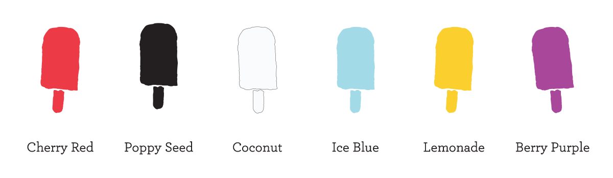 color palette of popsicles in a line in Cherry Red, Poppy Seed, Coconut, Ice Blue, Lemonade and Berry Purple