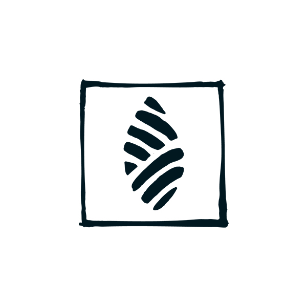 icon of leaf with square border in black on white background