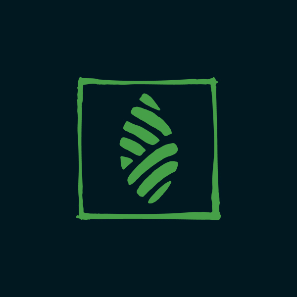 icon of leaf with square border in green on black background