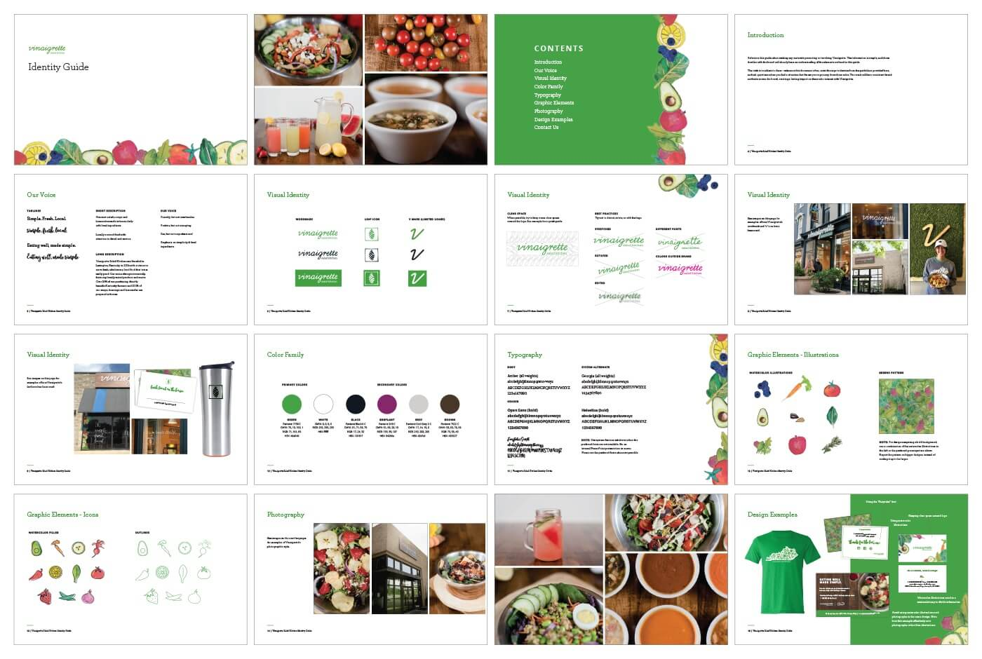 grid of pages from Vinaigrette brand style guide, including website mockups, color palettes, icons, and merchandise