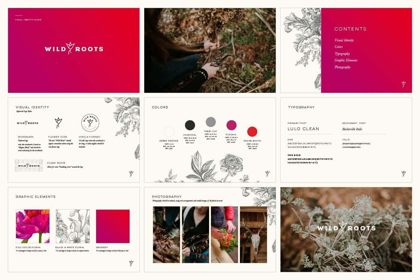 grid of wild roots images including color palette, fonts, and business owner arranging flowers