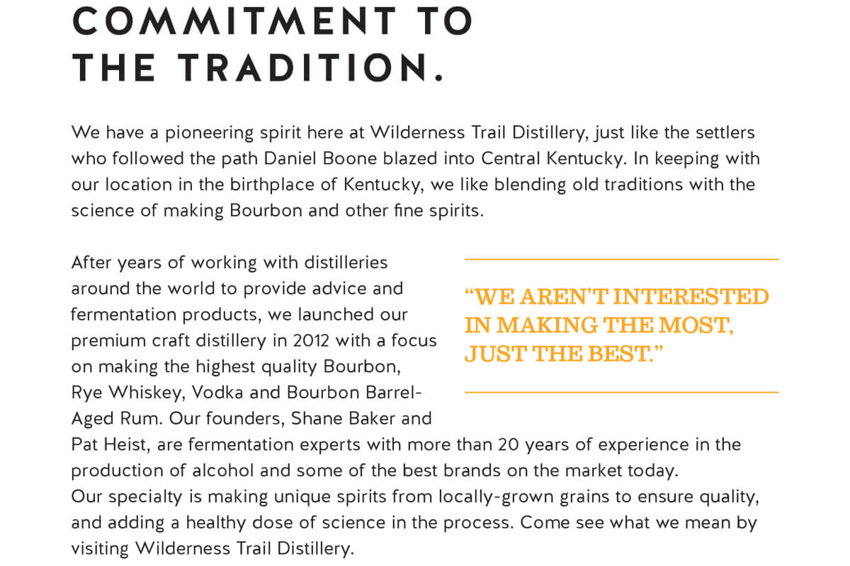 clip of descriptive paragraph about Wilderness Trail Distillery's history with the headline Commitment to The Tradition