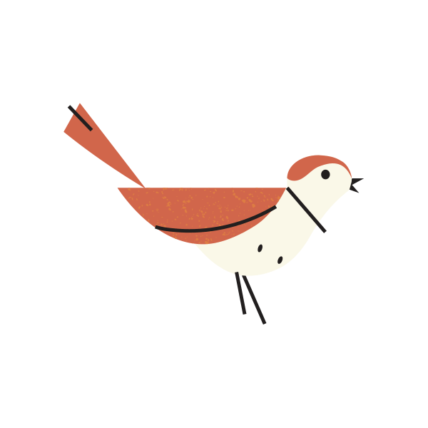woodland icon of orange sparrow
