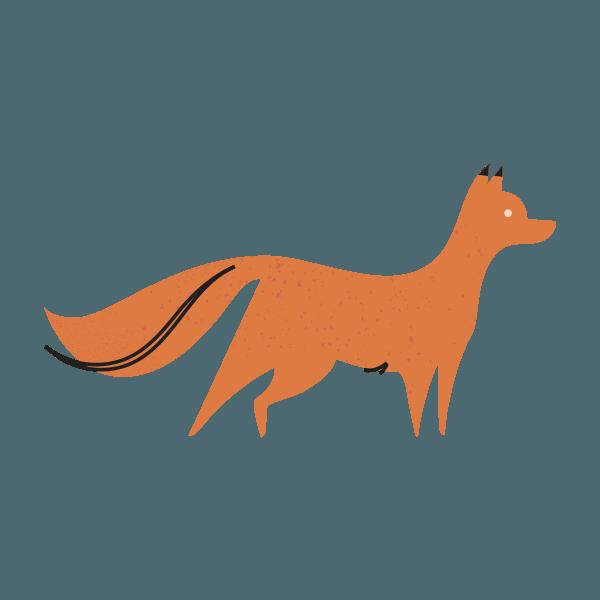 woodland icon of alert orange fox