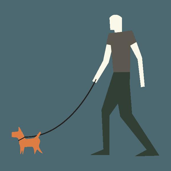 woodland icon of man walking dog