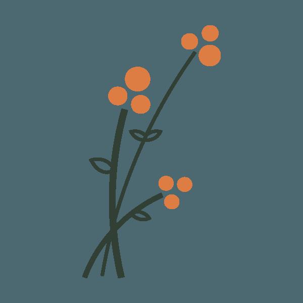 woodland icon of three orange flowers