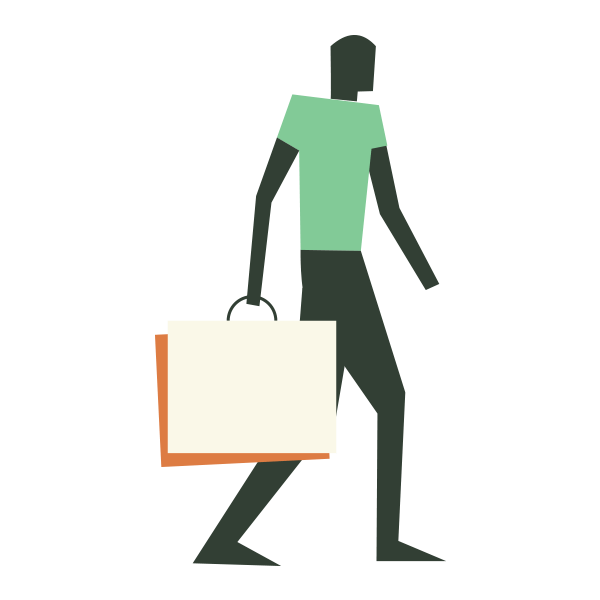 woodland icon of man with shopping bag