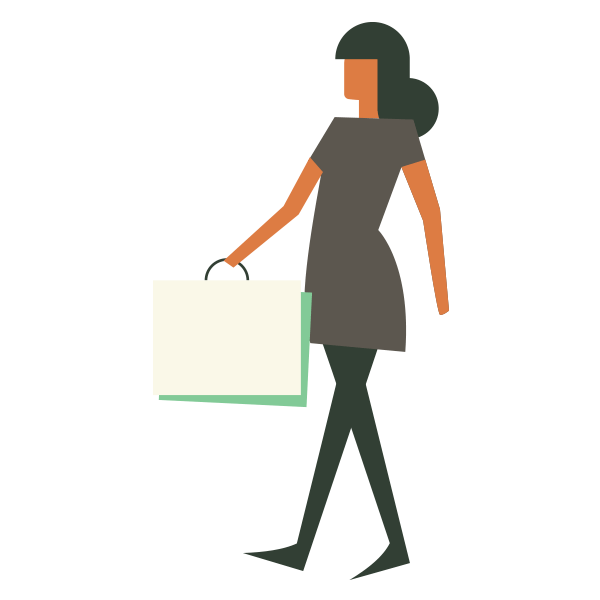 woodland icon of woman with shopping bag